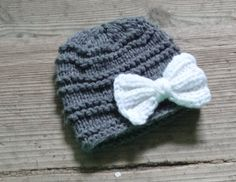 Baby hat with bow Knit grey Girl Hat  Newborn Coming by Ifonka