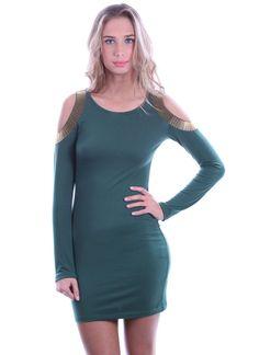Blaque Market Hunting Gold Dress, Green, Small