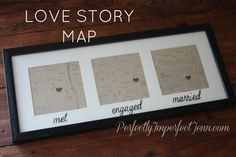 map with where you met, got engaged and got married! pretty cool!