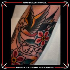 Traditional swallow tattoo on forearm. Designed and Tattooed by: Tadeja Dragon Tattoo Traditional Swallow Tattoo, Tattoo Portfolio, First Tattoo, Forearm Tattoos, Color Tattoo, Dragon, Tattoos On Forearm, Dragons, Color Tattoos
