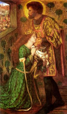 """""""St. George and the Princess Sabra was painted by Dante Gabriel Rossetti in 1862.  His wife, Lizzie Siddal, died while modeling as Princess Sabra.  I find myself searching her face, as if it were a photograph, looking for signs of what was to occur days later:  her overdose of laudanum.""""  Dante Gabriel Rossetti"""