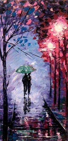 umbrellas.quenalbertini: Two under an umbrella via ArtonlineGallery / etsy