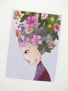 Whimsical Flower Girl Print Postcard par thevysherbarium sur Etsy, $2,50