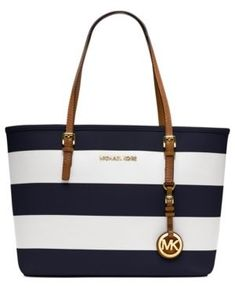 Michael Kors Jet Set Medium Striped Travel Tote Navy #mkhandbagssale
