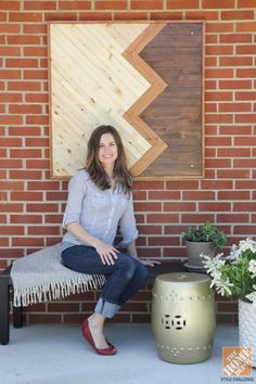 Dana of the blog House*Tweaking on her gorgeous outdoor dining area, complete with DIY wood art piece