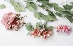 eucalyptus Hair comb SET greenery Bridal hair vine boho pink