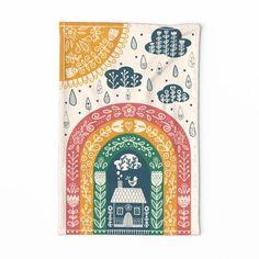 Folk Art Tea Towel - Folk Art Rainbow by liz_sawyer_design - Scandinavian Rainbow Rain Home Linen Cotton Canvas Tea Towel by Spoonflower Folklore, Folk Art Flowers, Scandinavian Folk Art, Rainbow Art, Hindu Art, Pattern Art, Tea Towels, Decoration, How To Draw Hands