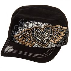 f71208f0cc0 Crystal Rhinestone Winged Heart Adjustable Distressed Cadet Hat Cap