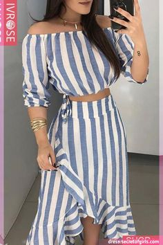 Fashion dresses - Striped Off Shoulder Top & Ruffles Skirt Sets Skirt Outfits, Dress Skirt, Skirt Set, Cute Outfits, Striped Off Shoulder Top, Off Shoulder Tops, Casual Dresses, Casual Outfits, Summer Dresses