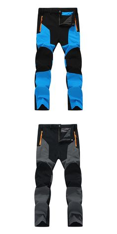 $35.08 Mens Outdoor Durable Soft Shell Water-repellent Breathable Stitching Color Sport Pants