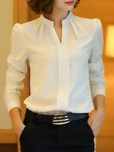 Tie Collar Hollow Out Plain Blouse With Tube – . Read more The post Tie Collar Hollow Out Plain Blouse With Tube – purple club appeared first on How To Be Trendy. Source by wanita Blouse Styles, Blouse Designs, Bluse Outfit, Sewing Blouses, Plain Shirts, Work Tops, Work Blouse, Work Attire, Blouses For Women