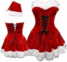 Sexy Santa Clause Costume Dress Hat Set Role Play Cosplay Corset Gifts For Her  #SexySantaClauseCostume #Dress #Christmas