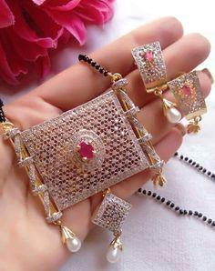 *American diamond jewellery* *price mah*Quality also Good*👍🏻 Royal Jewelry, India Jewelry, Beaded Jewelry, Gold Jewellery, Silver Jewelry, Silver Ring, Diamond Mangalsutra, Gold Mangalsutra Designs, Trendy Jewelry