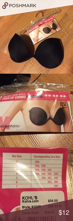 Strapless/ backless bra Strapless bra push up. Has clear straps and can be worn as a regular bra. Never been worn still in bag. Purchased to wear with a strapless dress and didn't need it. Please refer to last picture for size chart. Maidenform Intimates & Sleepwear Bras