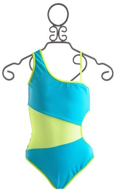 To The 9s Turquoise Tween Asymmetrical Swimsuit