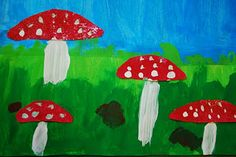Third grade students created these beautiful painted paper spotted mushrooms. We viewed various Fairy Tale illustrations and the sweet little red-spotted mushrooms found among the grasses and trees… Kindergarten Art Lessons, Art Education Lessons, Winter Art Projects, School Art Projects, Drawing For Kids, Art For Kids, Kid Art, Arte Elemental, Fairy Tale Crafts