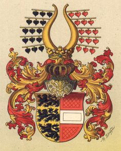 griffinrampant:  Arms of Karnten, Germany Blazon: Per pale or three lioncels passant sable (Duchy of Carinthia, c.976) and gules a fess or (Austria) Crest: Out of a crown proper, a pair of horns, each with five branches or; from each branch issuing three hearts, those on the dexter horn sable, those on the sinister gules  Mantling: Gules lined or