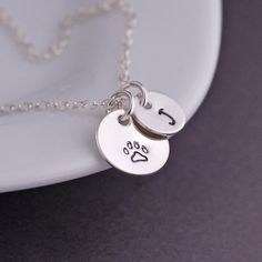 Paw Print Necklace Pet Memorial Necklace by georgiedesigns on Etsy