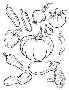 Printable vegetables coloring page. Free PDF download at http://coloringcafe.com/coloring-pages/vegetables/