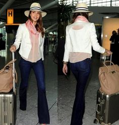 "Jessica Alba's airport style: Kymerah's white ""Cleo"" blazer paired with a pink blouse and scarf."