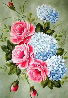 Розы и гортензии - Схемы вышивки - Miss_iks - Авторы - Портал «Вышивка крестом»