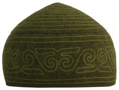 100% wool handmade felt hat embroidered in Kyrgyz national style. Color: dark olive.
