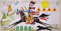 """""""Running Eagle Returning from a War Raid,"""" by Terrance Guardipee. (Article at link: """"Blackfeet artist to exhibit unique approach to ledger art,"""" by Cory Walsh for the Missoulian. Native American Pictures, Native American Artists, Native American Indians, Plains Indians, Indian Horses, Southwest Art, American Indian Art, Indigenous Art, Equine Art"""