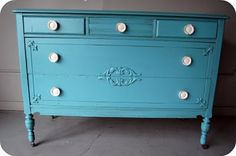 blue painted chest