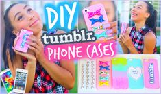 Diy 5 easy phone cases (studded, ombre & more) Diy Tumblr, Diy Phone Case Design, Tumblr Phone Case, Unicorn Phone Case, Minnie Mouse, Mylifeaseva, Iphone Cases Cute, Diy School Supplies, Ideas Geniales