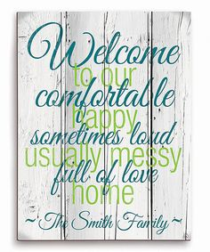 Another great find on #zulily! Blue & Green Personalized Welcome Sign by Image Canvas #zulilyfinds