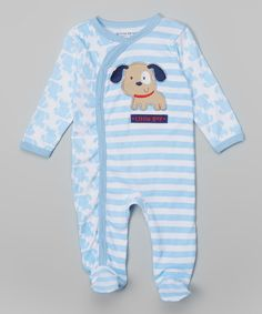 Look at this Blue Stripe 'Little Guy' Footie - Infant on #zulily today!