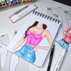 "Fashion Illustration na Instagramu: ""Fixy a akvarelove pastelky 🖊 #markers#copicmarkers#touchmarkers#fashionillustration#fashionary#fabercastell"" Markers, Illustration, Design, Fashion, Moda, Sharpies, La Mode, Illustrations, Fasion"