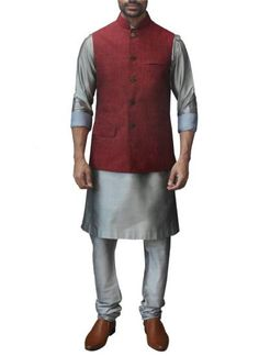 Indian Fashion Designers - WYCI - Contemporary Indian Designer Clothes - Jackets - WYCI - SS14 - W3WLn026 - Red Denim Linen Waistcoat