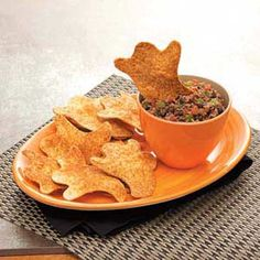 """""""Boo""""rrific Black Bean Dip with Chips Recipe from Taste of Home"""