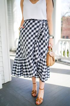 What to Wear to a Wedding or Bridal Shower | Gingham Wrap Midi Skirt + Hermes Wedge Sandals