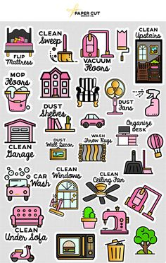 SPRING CLEANING PLANNER STICKERS STICKER SIZE: - Assorted QUANTITY: - 52 stickers total STICKER SHEET SIZE: - [ 2 ] 7.250 x 4.75 inches SHIPPING Shipping from Huntington, New York by first class mail Delivery: 1-3 business days USA only, 6-10 for international mail To view all our planner sticker designs: https://www.etsy.com/shop/PAPERCUTdesignco