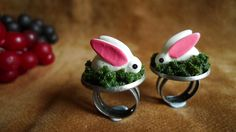 Rabbit ring. Animal ring - rabbit on grassland nature dramatic adjustable ring. super adorable