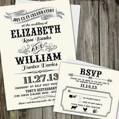 25 Printed Vintage Chic Wedding Invitation Set with by partymonkey