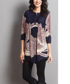 Love this Navy & Red Cloud Notch Neck Tunic on #zulily! #zulilyfinds