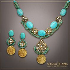 The Feroza and kundan set designed with 22K Gold coins.