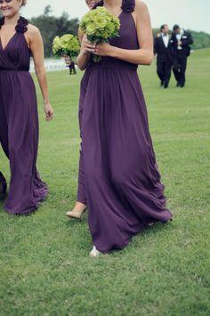 Long and purple. Bari Jay. Perfect for a @sigmasigmasigma wedding! Photography: Alea Moore Photography - www.aleamoore.com Read More: http://www.stylemepretty.com/2014/10/15/elegant-lakeside-georgia-wedding/