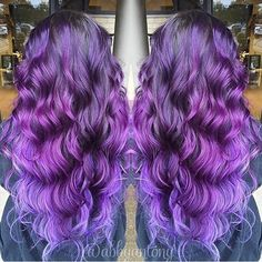Purple hair color purple ombre and purple hair painting by Abby Antony. Long wavy purple hair. violet hair color hotonbeauty.com balayage