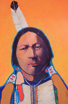 "Buckskin Charlie   Chief of the Utes - 30"" x 46""  One of Vince's favorites that he painted."