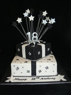black and white themed birthday cake