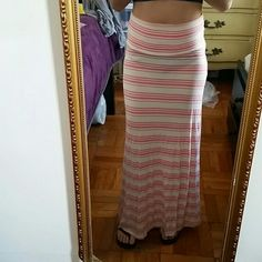 Stripped maxi skirt Cream & coral colors No tears  No stains  Perfect condition  Worn a couple of times Skirts Maxi
