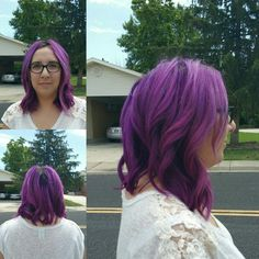 Color: Joico; orchid Cut: Subtle A-line....this is not what I want my coloring job to look like! Specifically the roots.