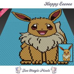 Happy Eevee crochet blanket pattern; c2c, knitting, cross stitch graph; pdf download; no written counts or row-by-row instructions by TwoMagicPixels, $3.79 USD