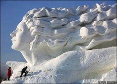 This is one of the largest snow sculptures in the world, measuring a whopping 35m high and 200m long - that's the length of four Olympic swimming pools!