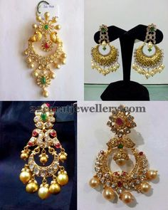 Peacocks embellished huge chandbalis with 22 carat gold and pachi design…
