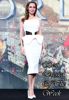 Best Dressed Of The Week – Angelina Jolie In Ralph & Russo strapless dress with a sculptural peplum to the 'World War Z' Berlin premiere.